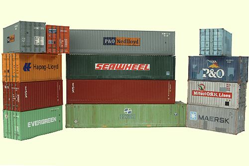 Sea freight containers in international shipping